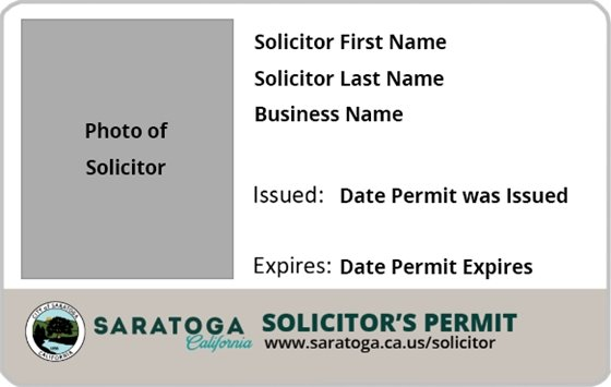 Saratoga Solicitor ID Badge Sample